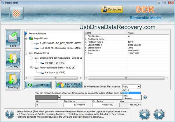 USB pen drive data retrieval application