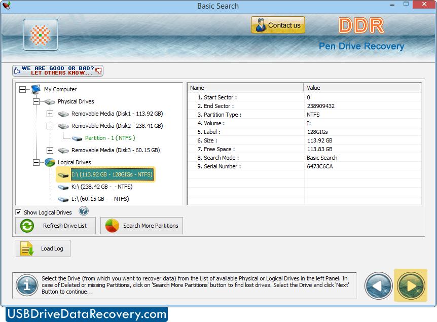 USB drive data recovery software screenshots flash drives
